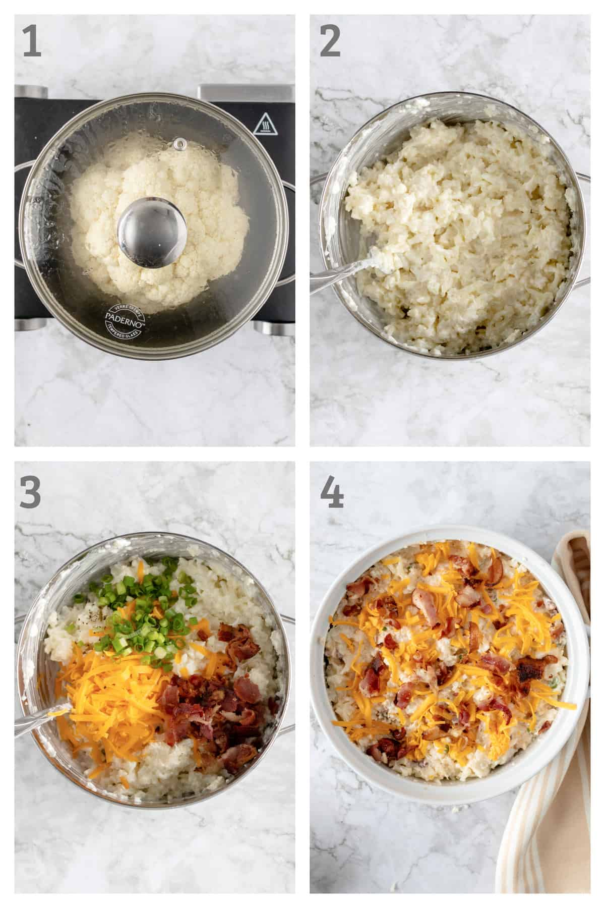 Step by Step instructions for making loaded cauliflower casserole