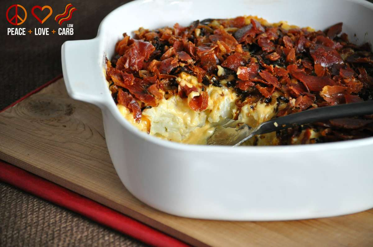 Low Carb Caramelized Onion and Prosciutto Mac and Cheese- Keto, Gluten Free