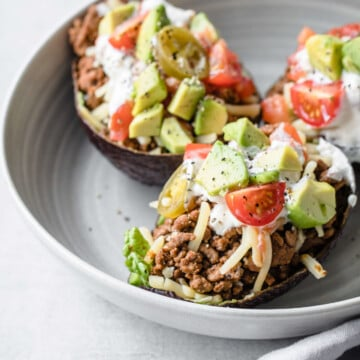 The Keto Avocado Taco Boats are the perfect way to level up your low carb Taco Tuesday Routine. They are fresh, light, and fun!