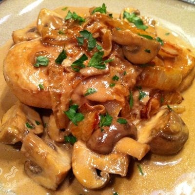 Pan-Seared Chicken with Balsamic Cream Sauce, Mushrooms and Onions | Peace Love and Low Carb