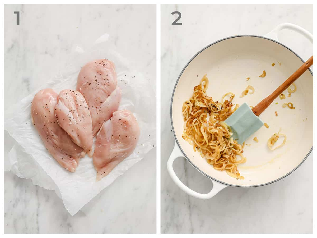 left - raw chicken seasoned with salt and pepper. right - caramelized onions