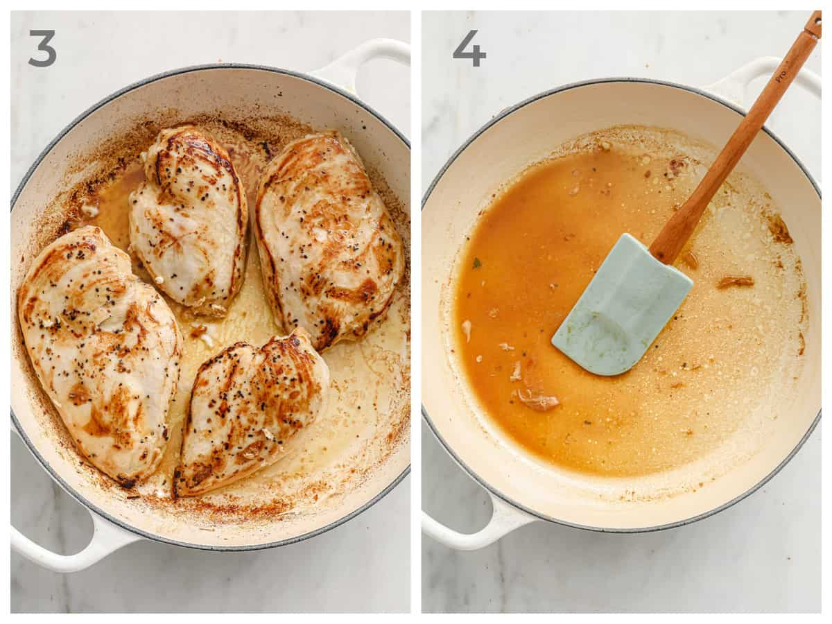 left - pan-seared chicken breasts - right - pan being deglazed with chicken stock