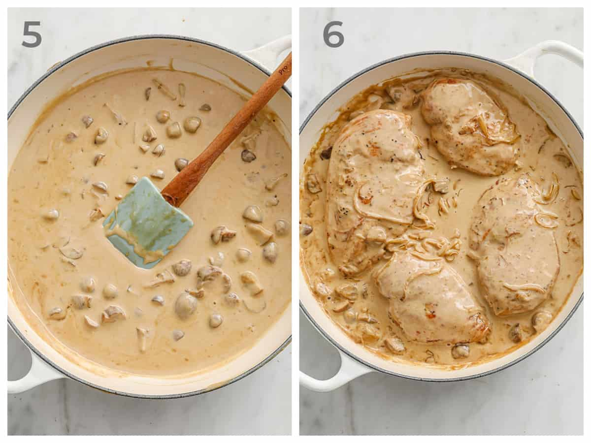 left - creamy sauce with mushrooms and onions. right - same sauce but with chicken breasts