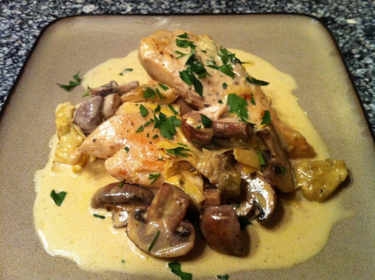 Chicken Dijon with Mushrooms and Artichokes | Peace Love and Low Carb