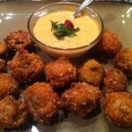 Deep Fried Mushrooms with Red Pepper Aioli Dipping Sauce