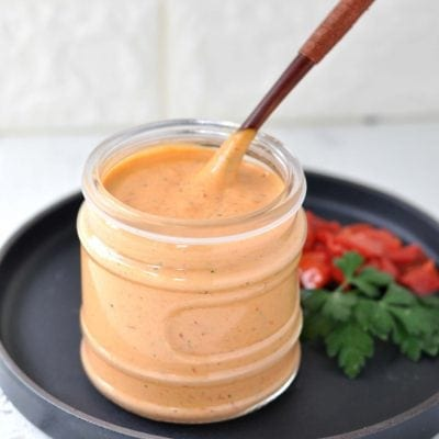 Roasted Red Pepper Garlic Aioli | Peace Love and Low Carb