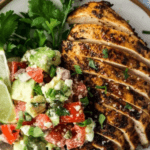This Chili Lime Chicken with Avocado Feta Salsa is the perfect fresh and light addition to your low carb Taco Tuesday rotation.