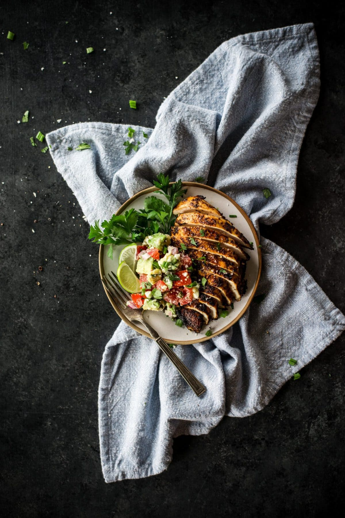 Chili Lime Chicken with Avocado Feta Salsa | Peace Love and Low Carb