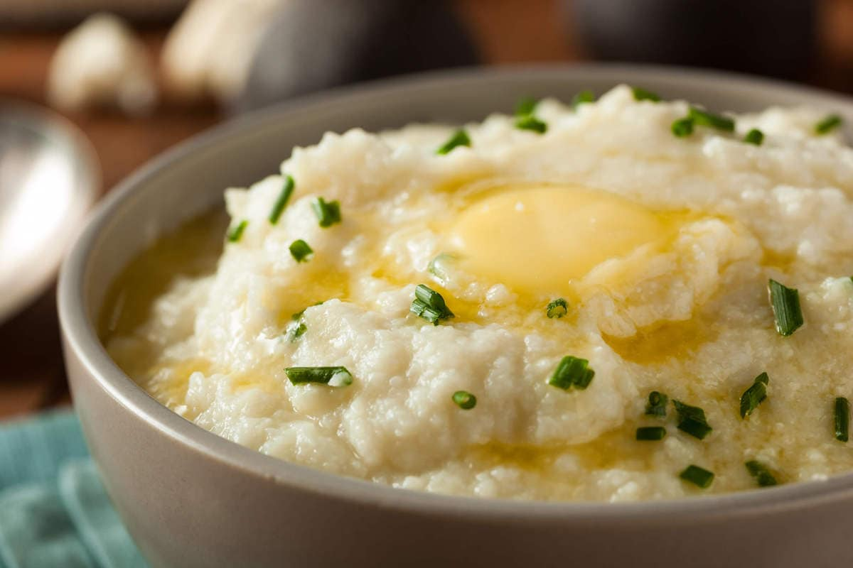Chive Horseradish Keto Cauliflower Mash | Peace Love and Low Carb