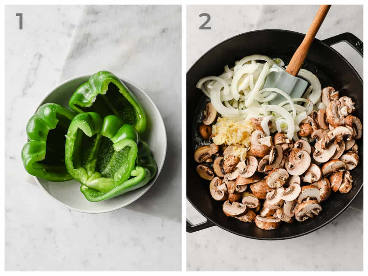 Left = green bell peppers with the ribs and seeds removed - right - skillet with onions, mushrooms and garlic