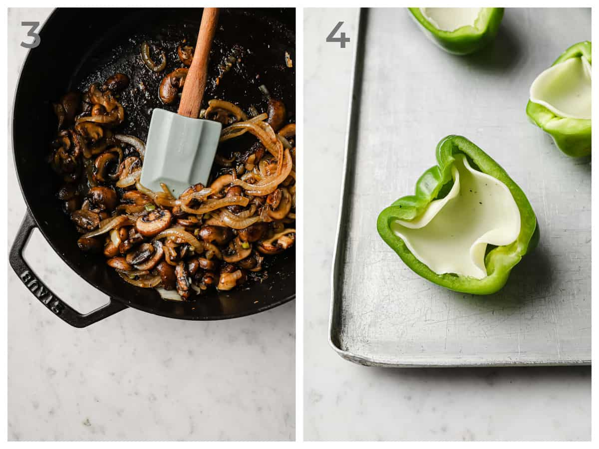 left - sauteed onions, mushrooms, and garlic - right half of a green bell pepper with a piece of provolone cheese