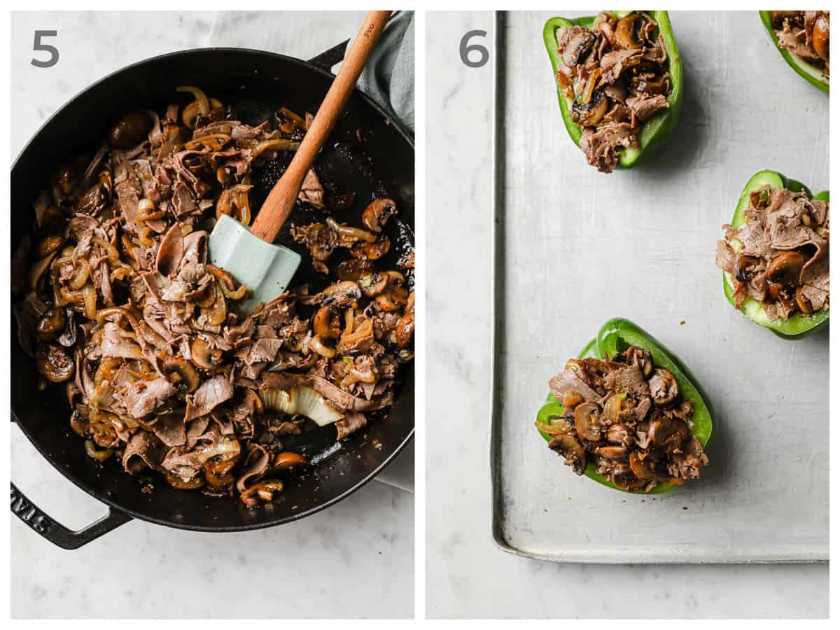 Left - sauteed mushrooms, onions, garlic, and roast beef - right - stuffed peppers