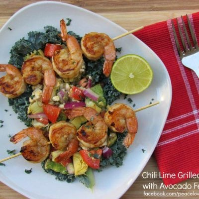 Chili Lime Grilled Prawns with Avocado Feta Salsa