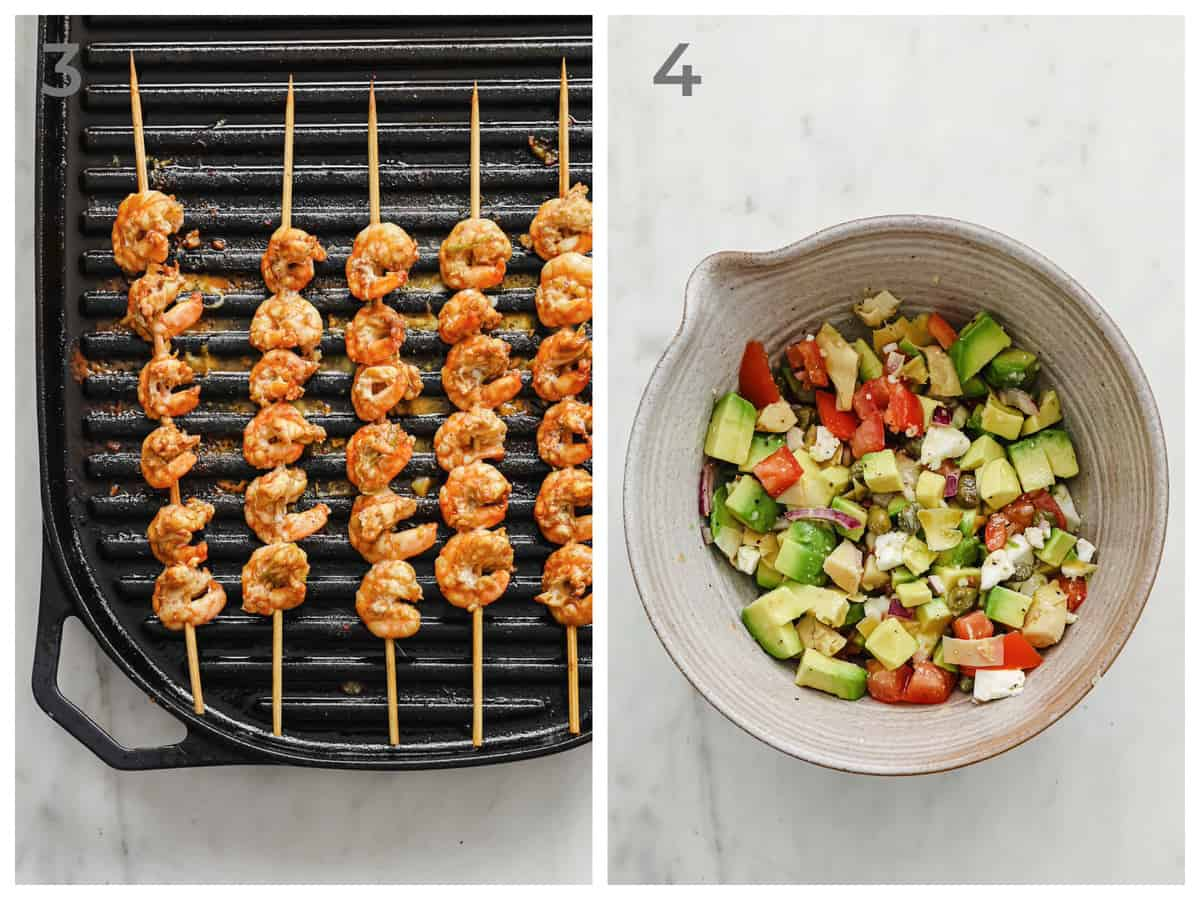 left - marinated prawns being grilled - right - a ceramic bowl full of fresh avocado salsa.