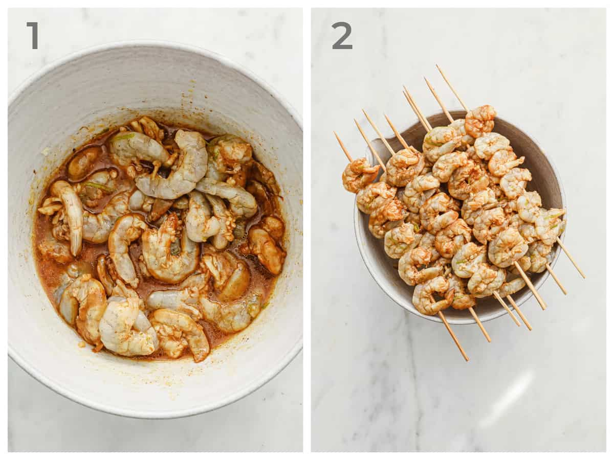 left - prawns marinating in Mexican spices right - prawns skewered and ready to be grilled