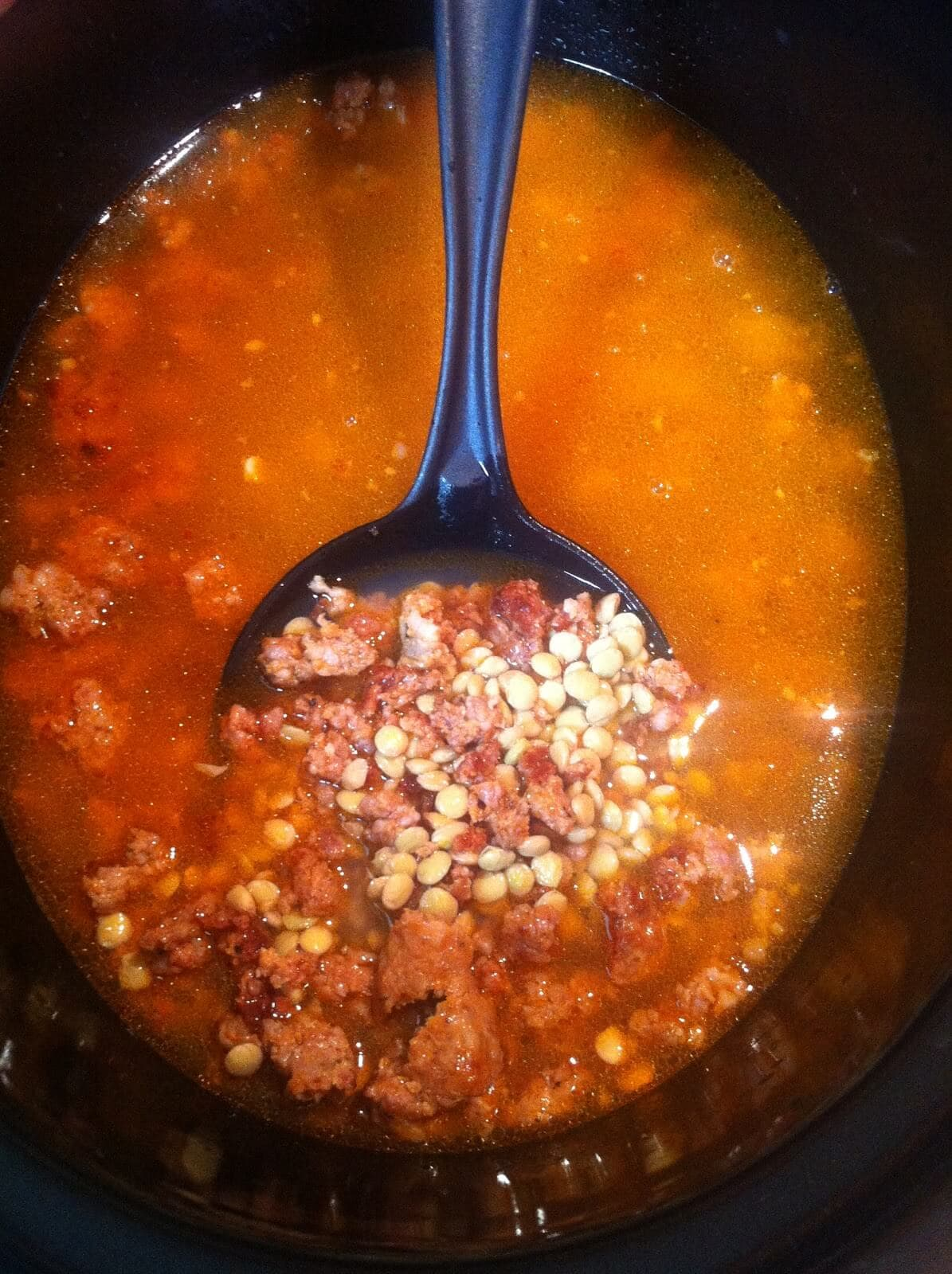 Slow Cooker Lentil and Italian Sausage Soup - Low Carb, Gluten Free, Keto | Peace Love and Low Carb