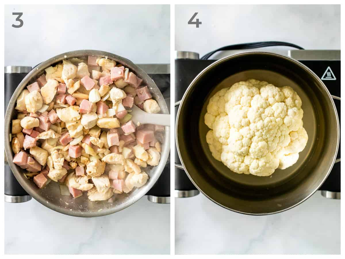left - cooked chicken, ham, mushrooms, and onions in a skillet - Right, a head of cauliflower in a pan