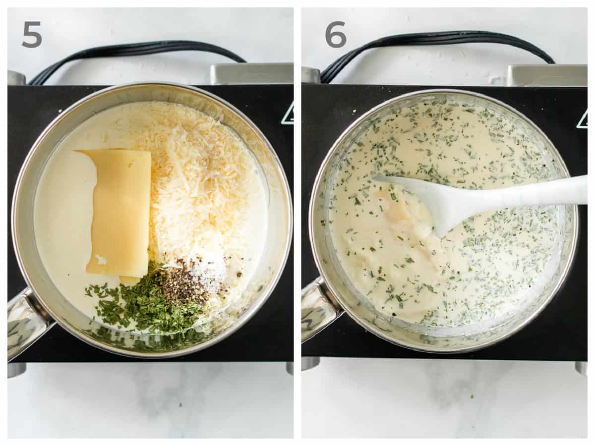 left ingredients for a tarragon cream sauce in a pot - right - the finished sauce