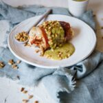 Prosciutto Wrapped Stuffed Chicken with Pesto Cream Sauce