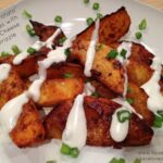 "Buffalo ""Potato"" Wedges with Blue Cheese Drizzle - Rutabaga"