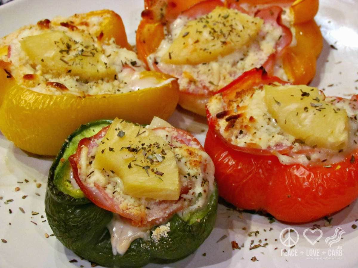 Hawaiian Pizza Stuffed Peppers - Low Carb, Gluten Free | Peace Love and Low Carb