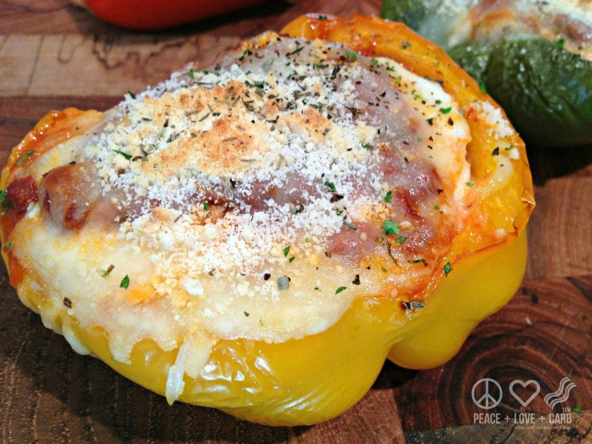 Low Carb Lasagna Stuffed Peppers | Peace Love and Low Carb