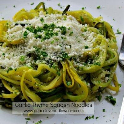 Low Carb - Garlic Thyme Squash Noodles - Paleo