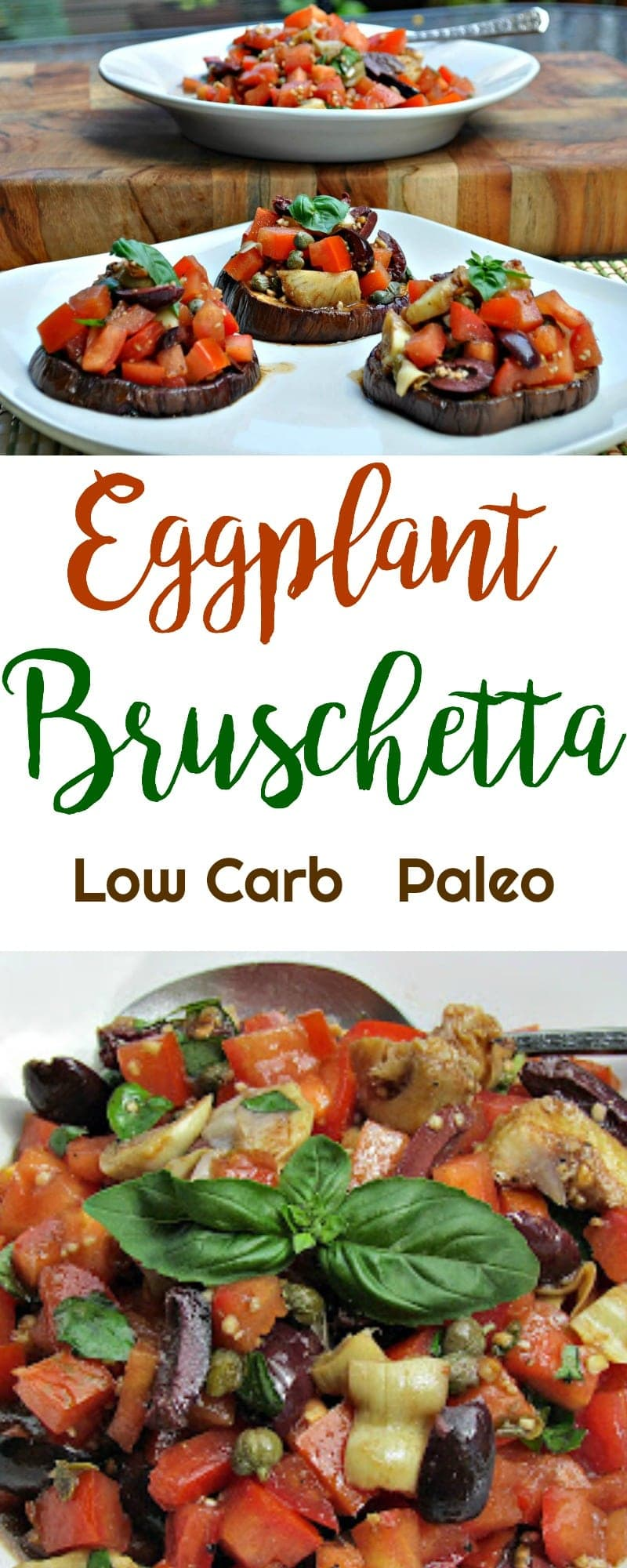 Eggplant Bruschetta | Peace Love and Low Carb  #lowcarb #paleo #eggplantbruschetta #bruschetta #lowcarbrecipe