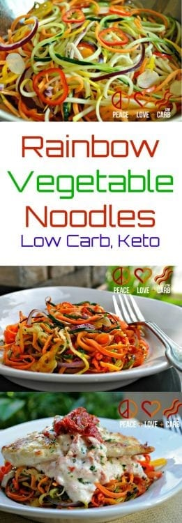 Rainbow Vegatable Noodles | Peace love and Low Carb