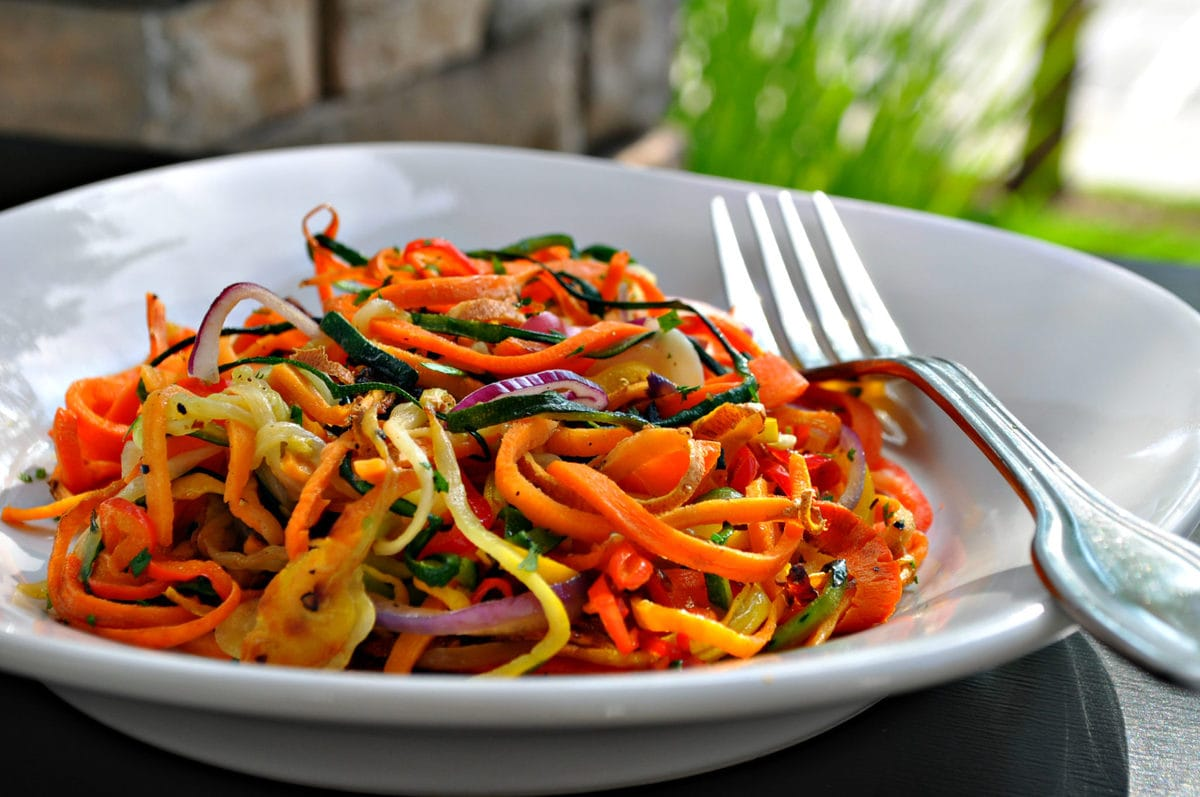 Low Carb Rainbow Vegetable Noodles | Peace Love and Low Carb