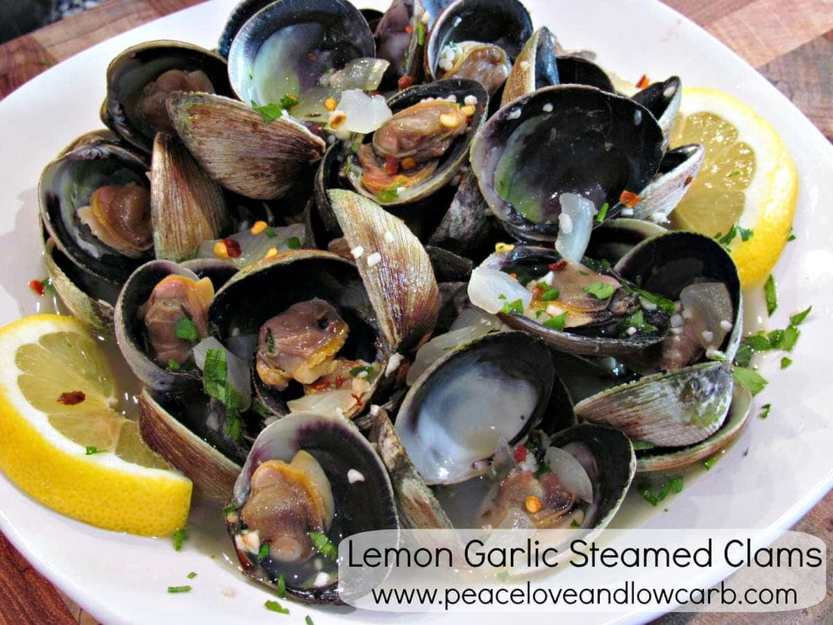 Lemon Garlic Steamed Clams