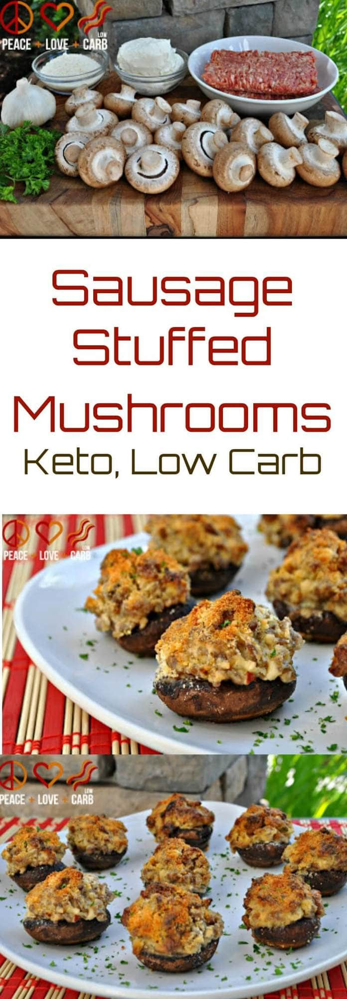 Sausage Stuffed Mushrooms | Peace Love and Low Carb