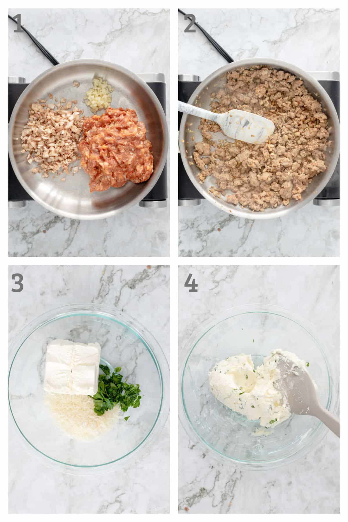 Step by Step Instructions for making Keto Sausage Stuffed Mushroom