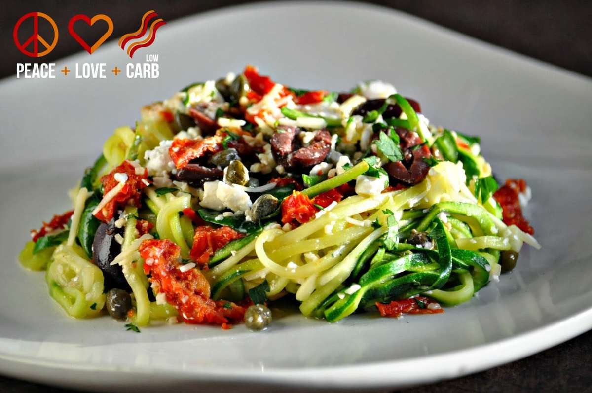Mediterranean Zucchini Noodle Pasta - Low Carb, Gluten Free, Primal | Peace Love and Low Carb