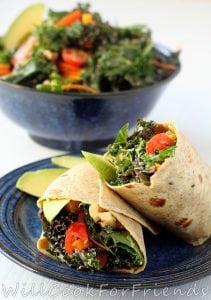 Tahini & Avocado Kale Salad Wraps