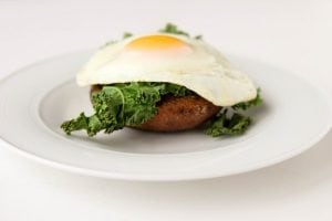 Mushroom Kale and Egg Stack