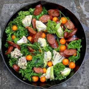 Spicy Sausage, Mustard Greens and Cauliflower