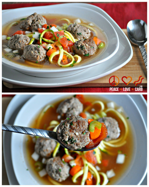 Italian Meatball Zoodle Soup - Low Carb, Paleo, Whole30