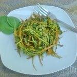 """Carrot and Zucchini """"Spaghetti"""" with Spinach Pesto"""