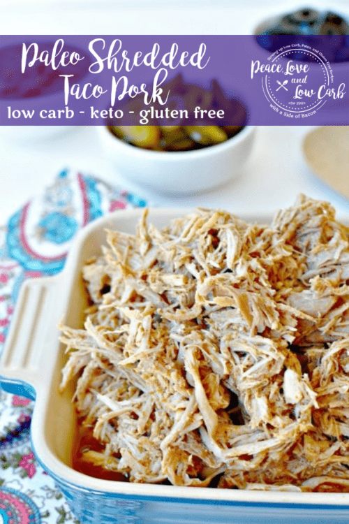 With just a few simple low carb and paleo ingredients and a slow cooker, this shredded taco pork will be satisfying your palate in no time.