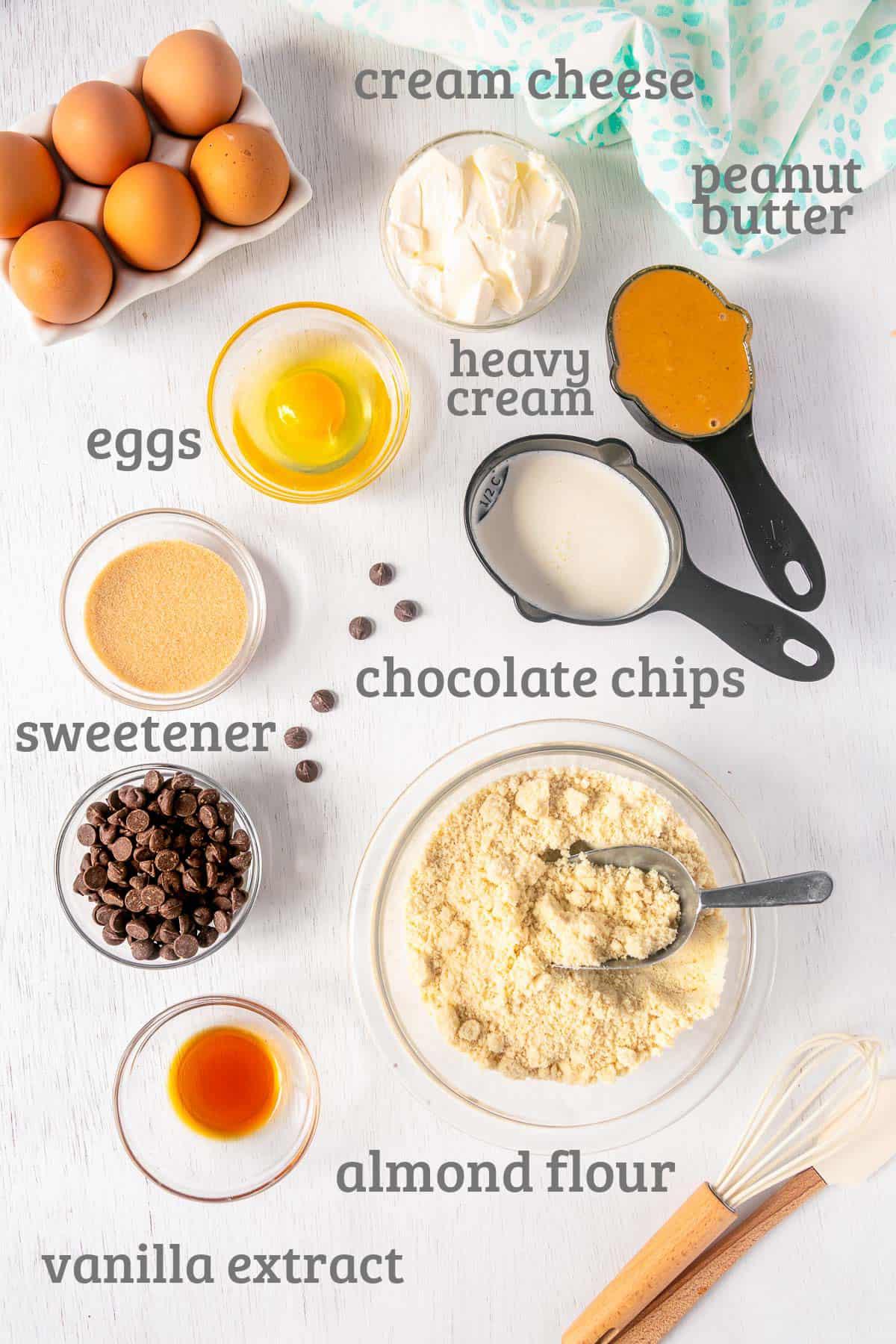 Ingredients for gluten free chocolate peanut butter bars - almond flour, peanut butter, chocolate chips