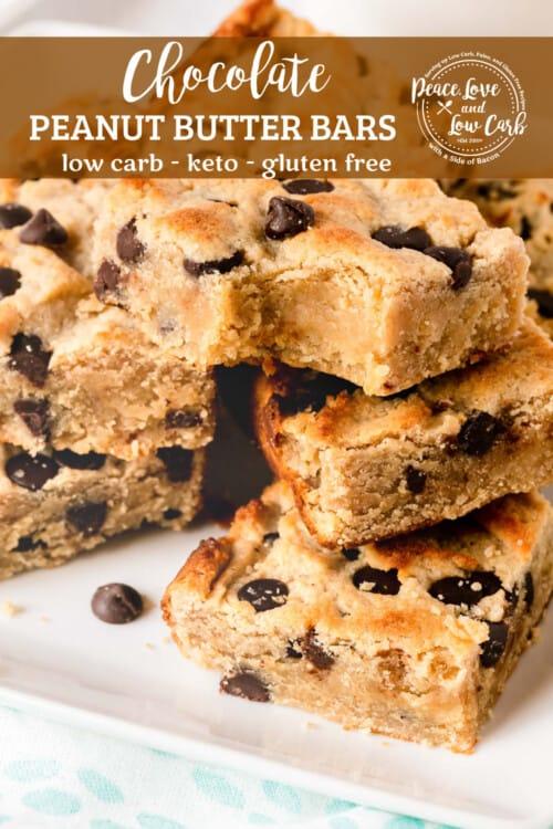 Easy Low Carb Sugar-Free Chocolate & Peanut Butter Keto Bars