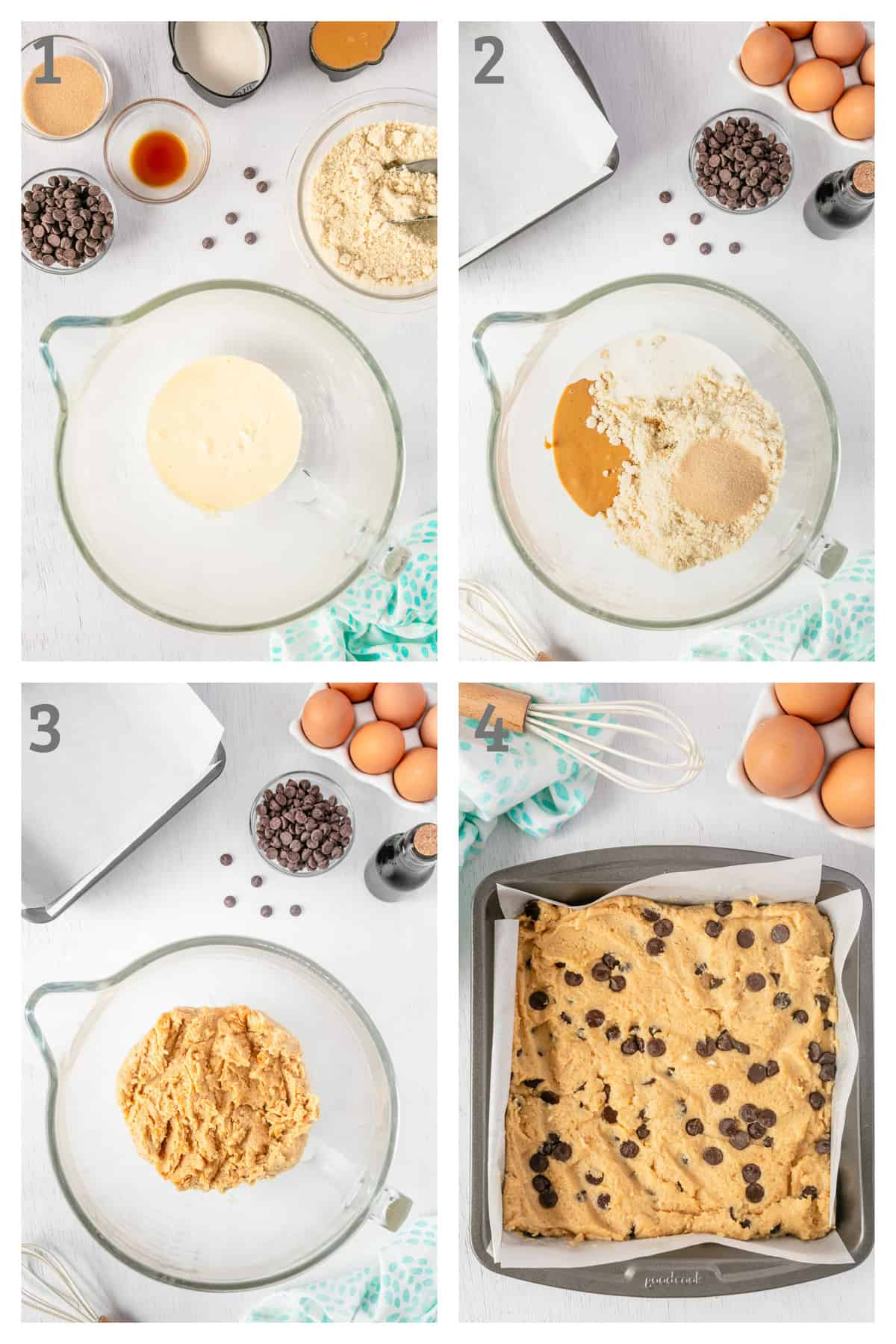 Step by step instructions for making low carb chocolate peanut butter bars