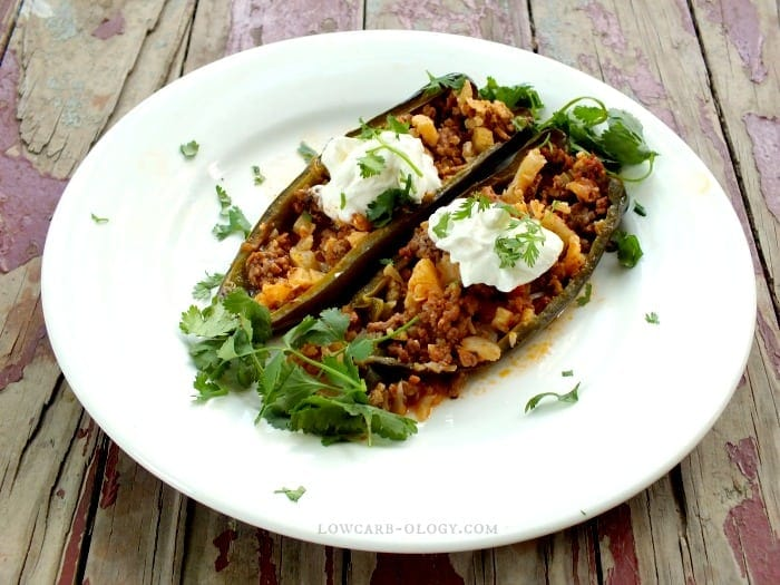 Slow Cooker Stuffed Poblano Peppers, Low Carb