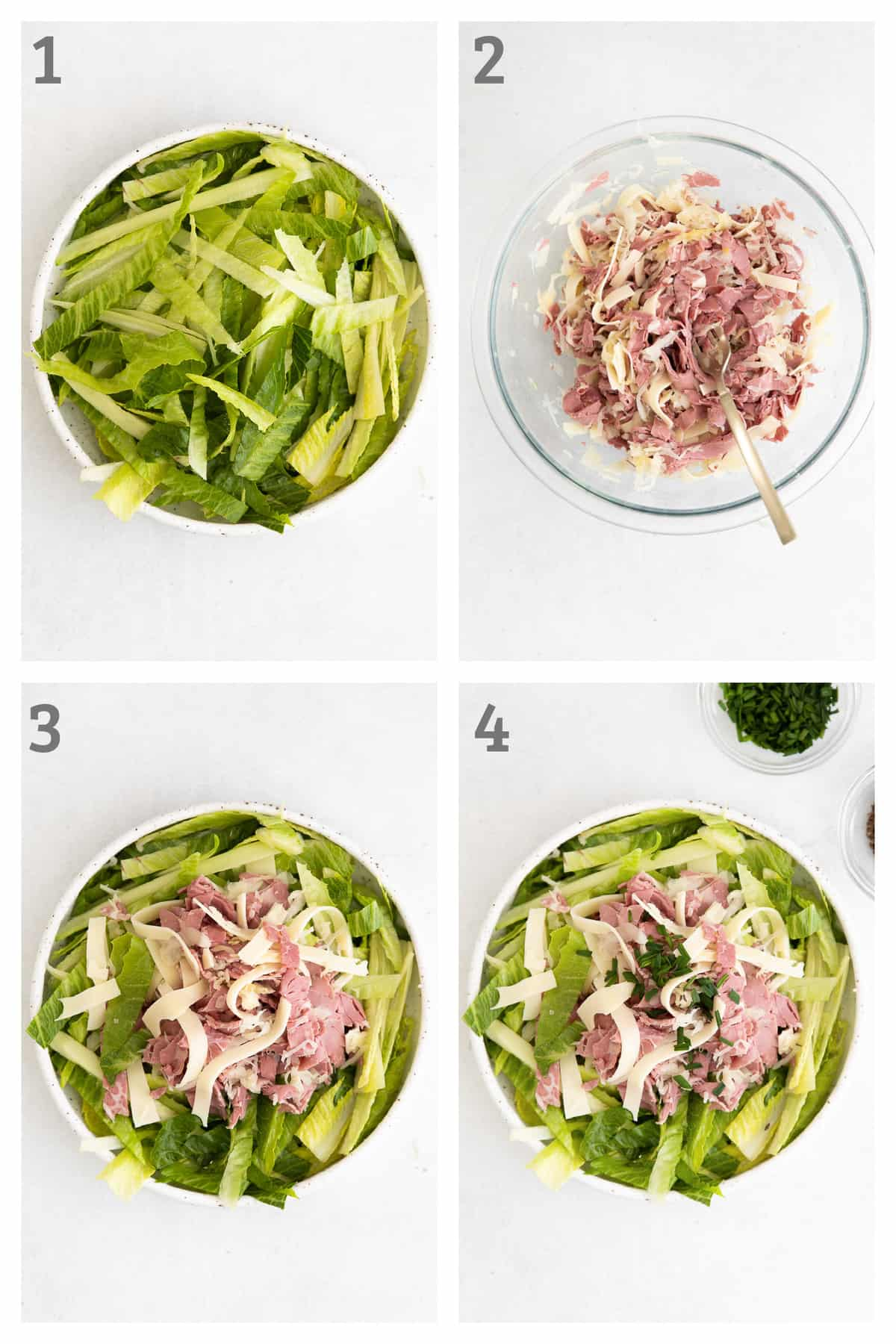 reuben chopped salad in a white ceramic bowl - romaine, corned beef, sauerkraut, and Russian dressing