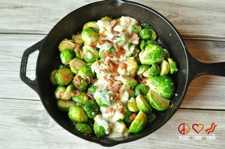 Skillet Roasted Bacon Brussels Sprouts With Garlic