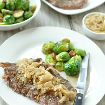 Broiled Skirt Steak with French Onion Gravy - Low Carb, Gluten Free