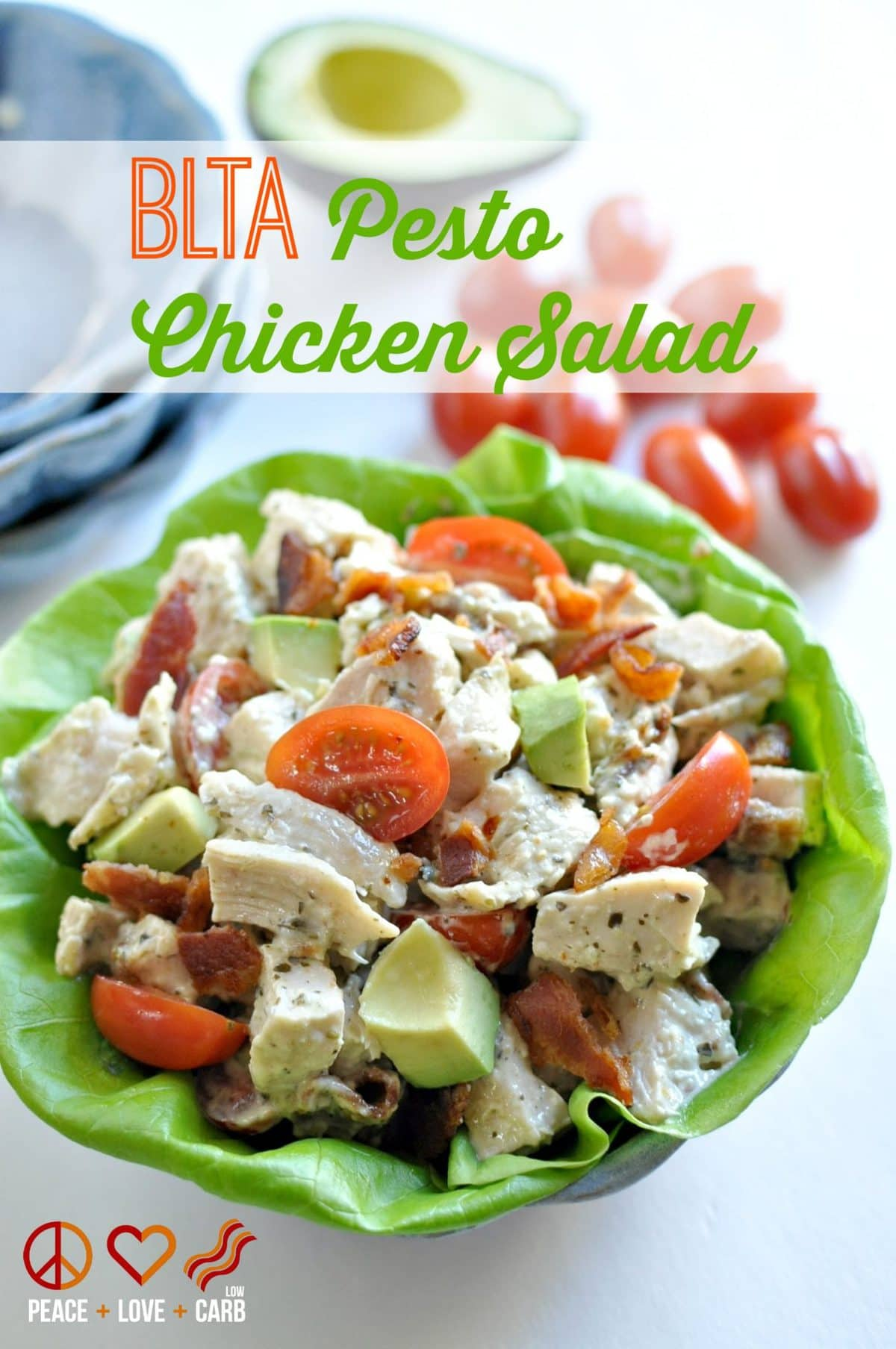 BLTA Pesto Chicken Salad - Low Carb, Gluten Free, Paleo  Peace, Love and Low Carb