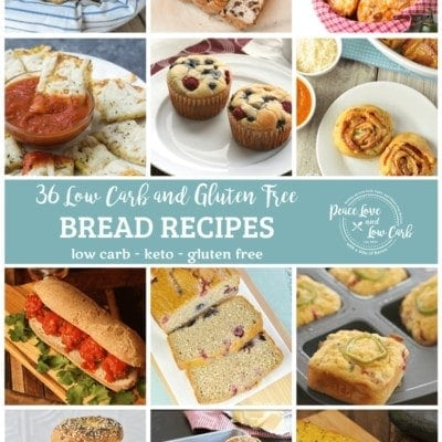 """A collage of 12 different low carb bread recipes featured within the post, all centered within an individual square, with a light teal banner across the middle of the image. The title of the post is written in script """"36 Low Carb and Gluten Free,"""" with """"BREAD RECIPES"""" in caps, and """"low carb - keto - gluten free"""" on the bottom line of text. To the right on the teal banner is the Peace Love and Low Carb logo."""