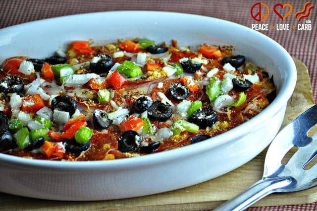 Supreme Pizza Cauliflower Casserole - One Month of Low Carb and Gluten Free Make Ahead Freezer Meals | Peace Love and Low Carb